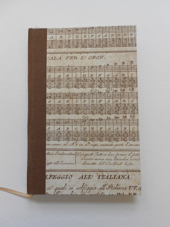 Hand-made blank book, music cover: Play the Song. 1846 antique engraving as frontispiece