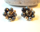Vintage Art Glass Cluster Clip on Earrings,   Grey Black Gold
