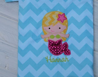 Mermaid Applique on  Personalized Wet Bag with Zipper Closure