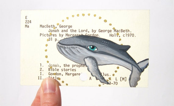 Whale Painting on Vintage Library Card Catalogue Card hand painted original Dewey Decimal