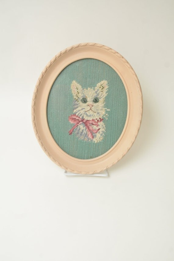 Vintage White Cat Kitty Kitten Needlepoint in Oval Frame Crewel Pink and Turquoise Nursery Shabby Cottage Chic