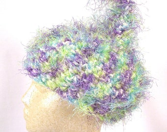 Fairy Fluff Pixie Cap- OOAK Adult size hat. Cozy, warm, and hypoallergenic. Cream Purple Blue Green Lavender