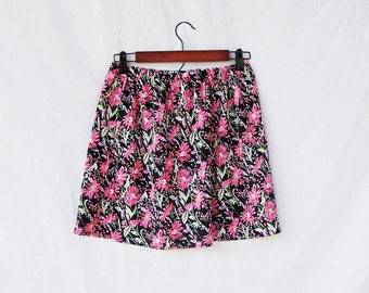 """Pink floral mini skirt flower print upcycled eco friendly redesigned clothing by GloriousMorn 28"""" to 32"""" elastic waist"""