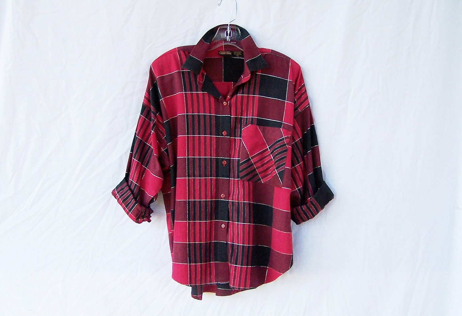 Womens 1980s red and black plaid shirt oversized by Womens red tartan plaid shirt