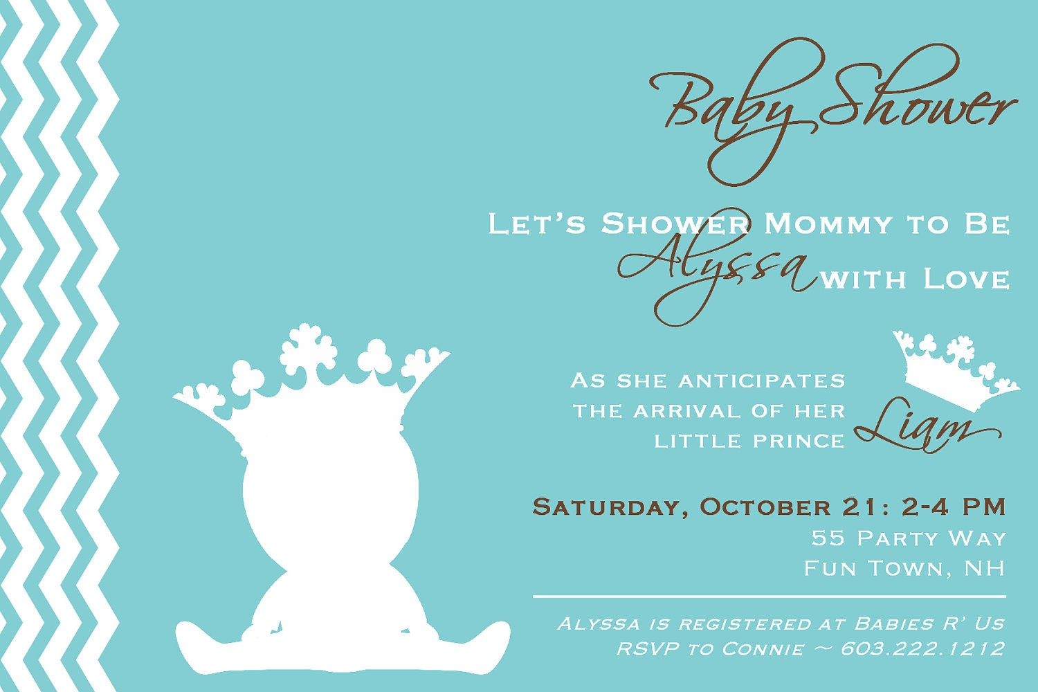 prince baby shower invitation printable by asyouwishcreations4u