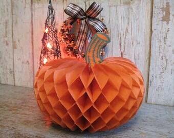 vintage honeycomb folding paper pumpkin / halloween decoration