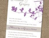 Wedding Invitation, Bridal Shower Invite, Into the Woods, Blossom and Branch Elegant Pattern Card DESIGN