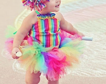 rainbow tutu outfit circus outfit first birthday outfit  carnival party party outfit rainbow corset top raggie bow headband