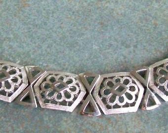 "Vintage Bracelet Trifari Silver Floral Motif 7-1/4"""