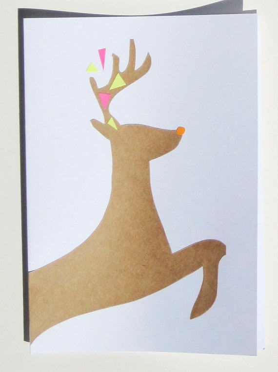 Christmas Card Set Reindeer Neon  ... Set of 4 ...  Handmade Holidays