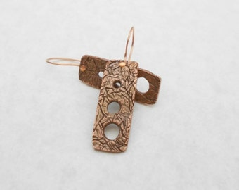 Metal Clay Earrings, Antiqued Copper, Textured, Cutouts