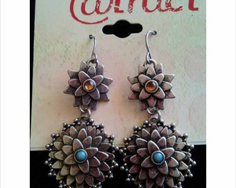 Silver Flower Earrings Still On Original Tag