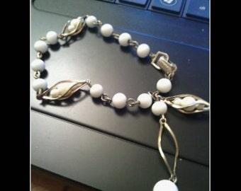 Beaded White Cage Bracelet