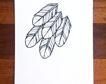 original drawing - 'little hope' - feathers in black and white - simple graphic unique illustration, ink feathers drawing, stylised feathers