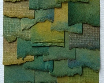 Handpainted Watercolor Collage in Tonal Shades of Green Blue Brown and Gold