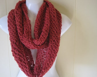Brick Red Infinity Scarf. Hand Knitted Scarf. Made to order scarves. Outerwear. Light weight scarves. Red Scarves.