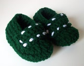 Green Baby Shoes/Slippers  Crochet 0-6 months FREE SHIPPING