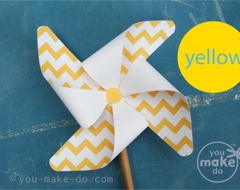 INSTANT DOWNLOAD yellow pinwheel, pinwheel, yellow baby shower, yellow birthday, pinwheel printable, chevron party, chevron baby shower