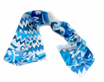 Blue chevron hand painted silk scarf.Chevron abstract pattern scarf. Natural navy silk scarf.Ready to ship.