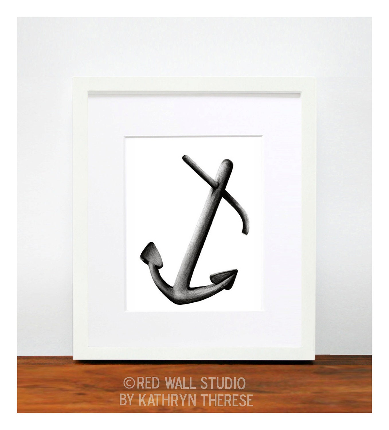 Nautical Decor Anchor Wall Art Print Charcoal by RedWallStudio