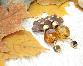Sweet Honey earrings Gold plated 24K earrings  Beaded earrings Jewelry