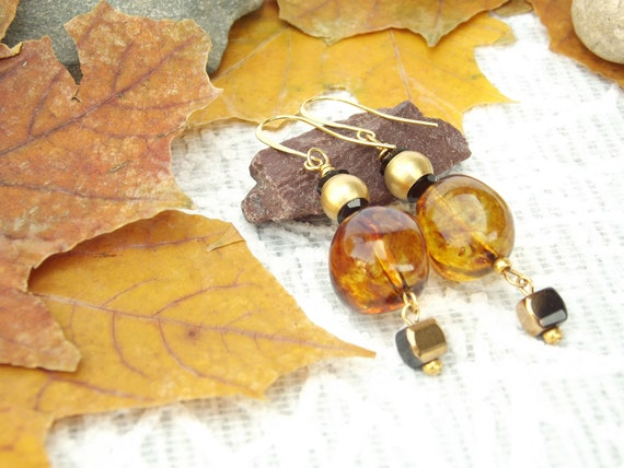 Sweet Honey earrings Gold plated 24K earrings  Beaded earrings Jewelry