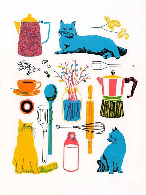 Kitchen, Original Screenprint 11x14