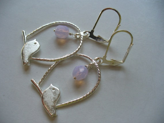 Milky Violet Bird Cage Earrings Sterling Silver Bird Cage Earrings