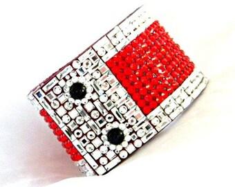 """Leather Bracelet Red Black Napoleon French Cuff CrystalJewelry 2"""" Wide w/ Swarovski Rhinestone Jewels Dinner Cocktail Wrap Wrist Accessory"""