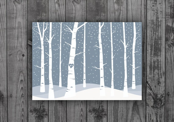 Custom Designed Save the Date Postcard with Snow and Aspen Trees