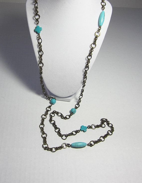 """Turquoise Magnesite Beads on Beautiful Antique Brass Crinkle Type Chain 54"""" Necklace Double Triple Strand"""