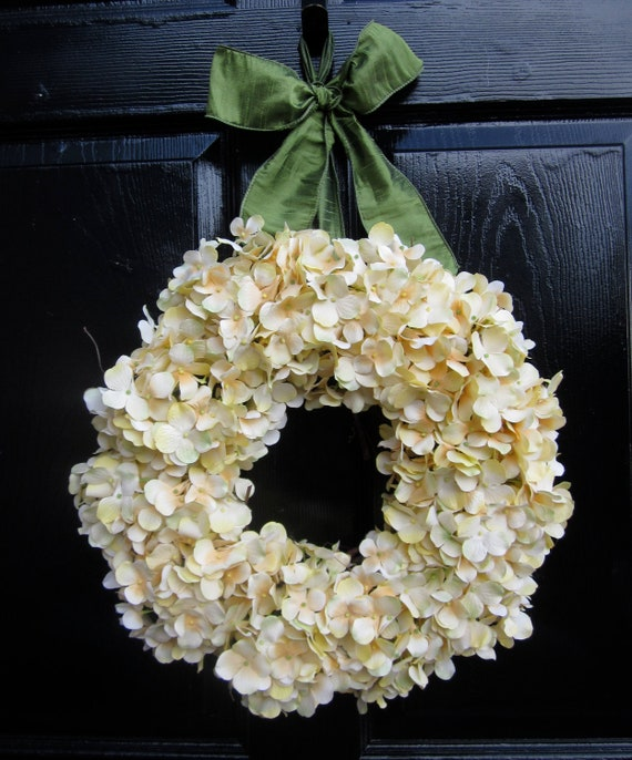 Pale Yellow Hydrangea Wreath with Sage Green Ribbon