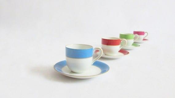 1930s German Demitasse Cups and Saucers.  Lustreware. Set of 4. Farberware