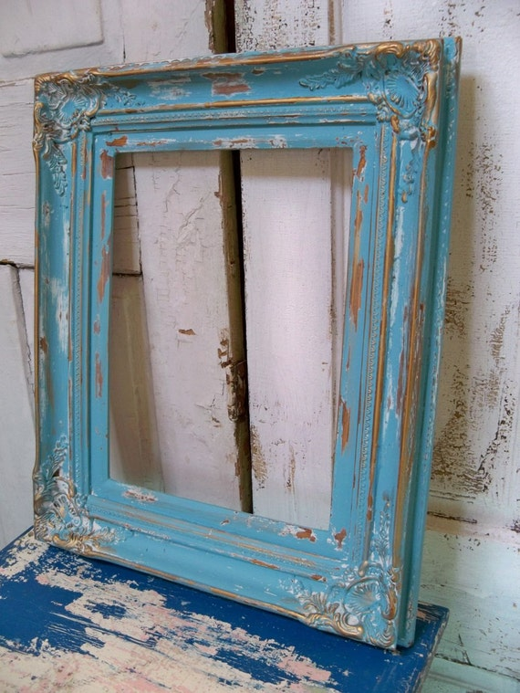 Large Heavy Wood Frame Beachy Blue Distressed Shabby Chic Wall