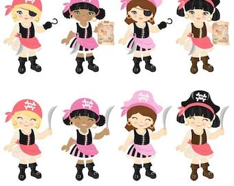 Cute Little Pirate Girls Clip Art Set