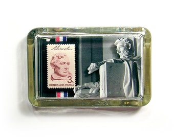 3D Abraham Lincoln with Postage Stamp Glass Paperweight - Patriotic Dimensional Photo Sculpture