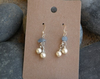 Blue Agate Cream Swarovski Pearls with Silver Fish Hook Earrings