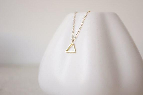 Tiny Triangle Necklace - (Petite Triangle & 14k Gold Filled Chain)