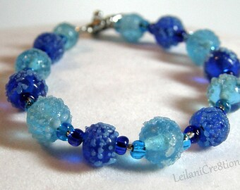 Ice Blue Bracelet with Royal Blue and Light Blue Glass Beads, and Silver Heart Toggle Clasp