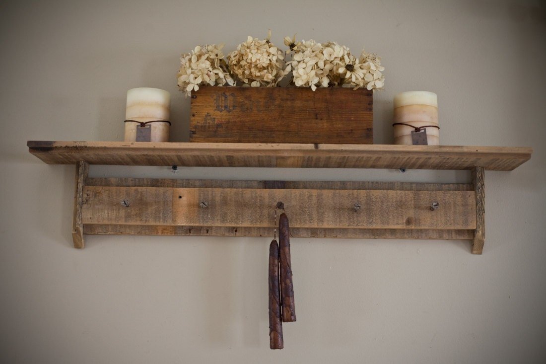 Barn Wood Shelves ~ Reclaimed barnwood shelf with rusty screws for hooks