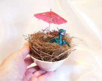 Turquoise Baby Dragon Hatching from an Egg, with Nest: Dragon Art Doll