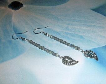 Labradorite Earrings, Leaf Earrings, Shimmery Earrings, Dangle Earrings, Beaded Earrings, Blue Earrings, Blue Grey