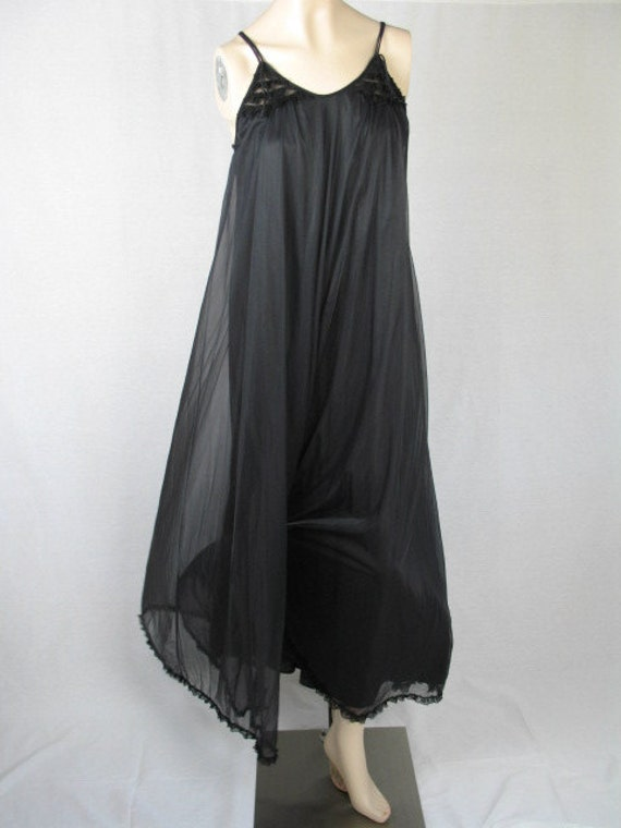 Vintage Chiffon Nightgown,  Black Nightgown, Grand Sweep, Blanche