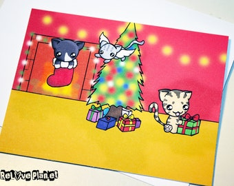 Kitties Cat Christmas Card - cute kawaii cats - ReLove Plan.et Artwork