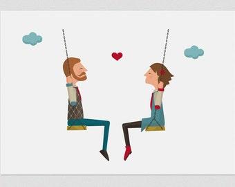 Illustration, Print, Lovers on a swing, Tutticonfetti, Wall art, Art decor, Hanging wall, Printed art, Decor home, Gift idea, Sweet home.