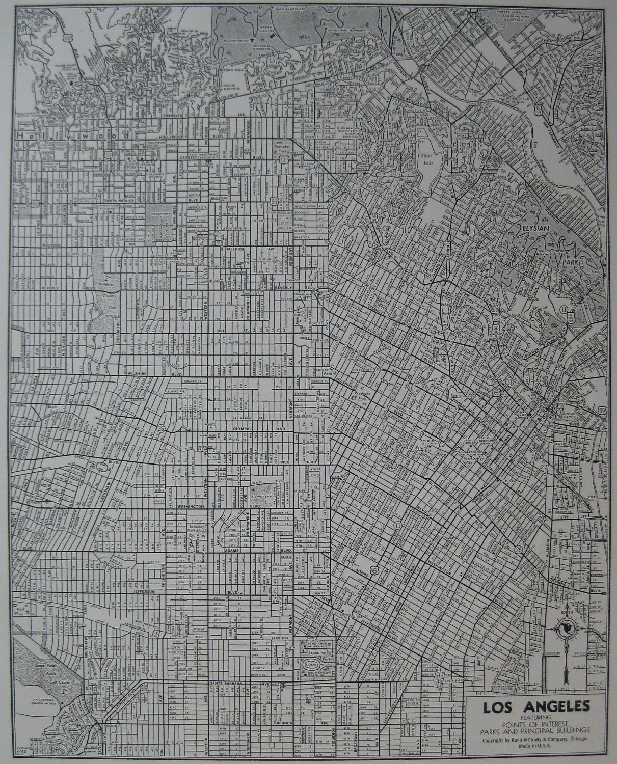 Vintage LOS ANGELES MAP  Black And White Map Of Los - Los angeles map vintage