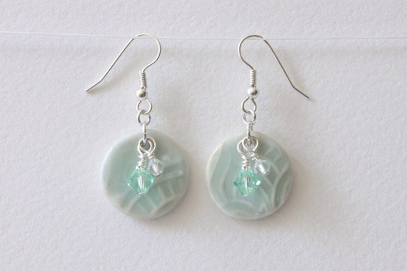 Porcelain Ceramic Earrings Round with Stamped Design in Light Green Glaze