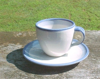 Vintage MA Hadley Cups and Saucers - Plain Blue Stripe -  No Design - Goes with all patterns - 4 sets Vintage M.A. Hadley