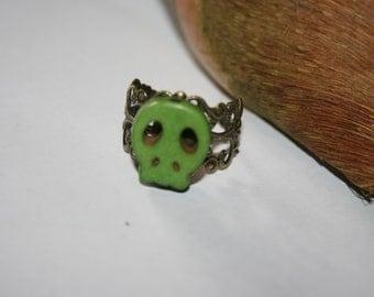 Skull Ring - Adjustable Green Skull Ring - Halloween Ring - Halloween - Gift for Her