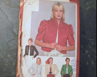 Simplicity 9637 Lined Bolero Jacket Sewing Pattern - UNCUT - Size 14 - Vintage 1980